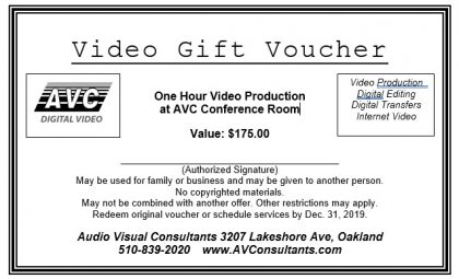 Holiday Gift–Video Vouchers